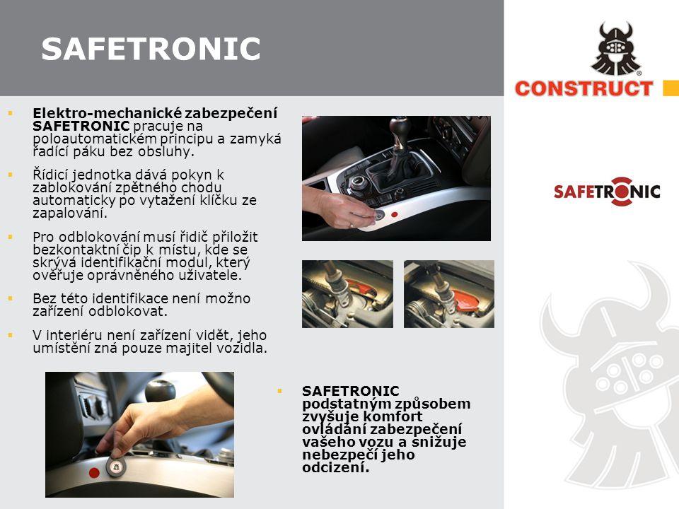 SAFETRONIC Elektro-mechanické zabezpečení SAFETRONIC pracuje na poloautomatickém principu a zamyká řadící páku bez obsluhy.