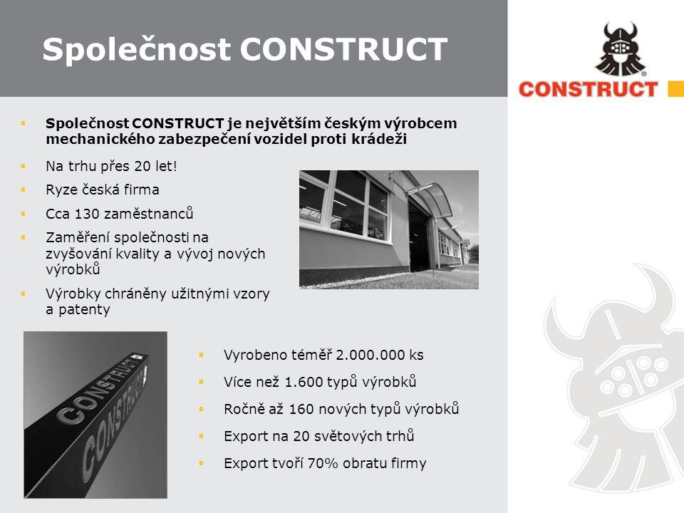 Společnost CONSTRUCT Společnost CONSTRUCT je největším českým výrobcem mechanického zabezpečení vozidel proti krádeži.