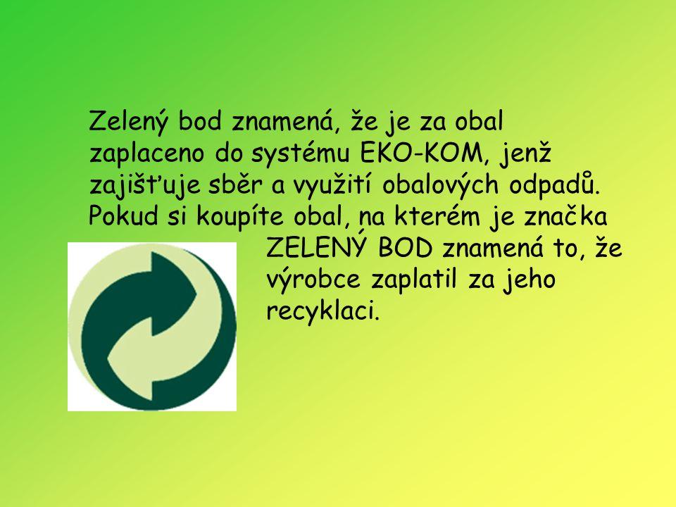 Zelený bod znamená, že je za obal zaplaceno do systému EKO-KOM, jenž zajišťuje sběr a využití obalových odpadů.