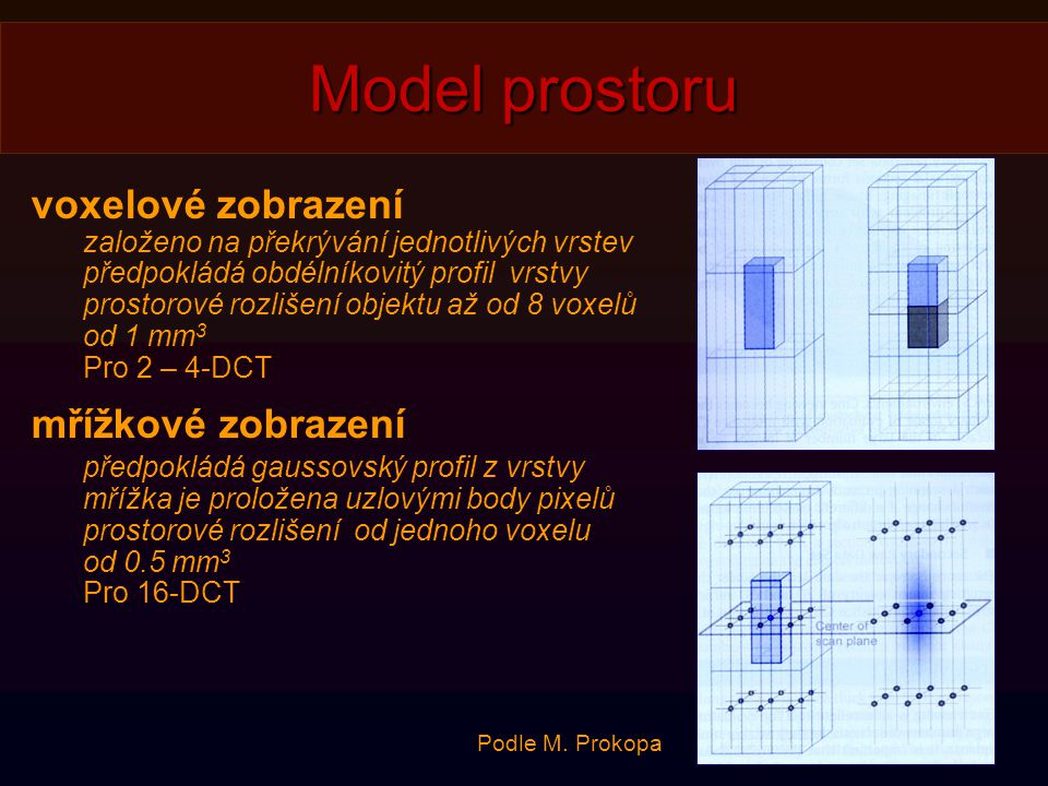 Model prostoru voxelové zobrazení mřížkové zobrazení