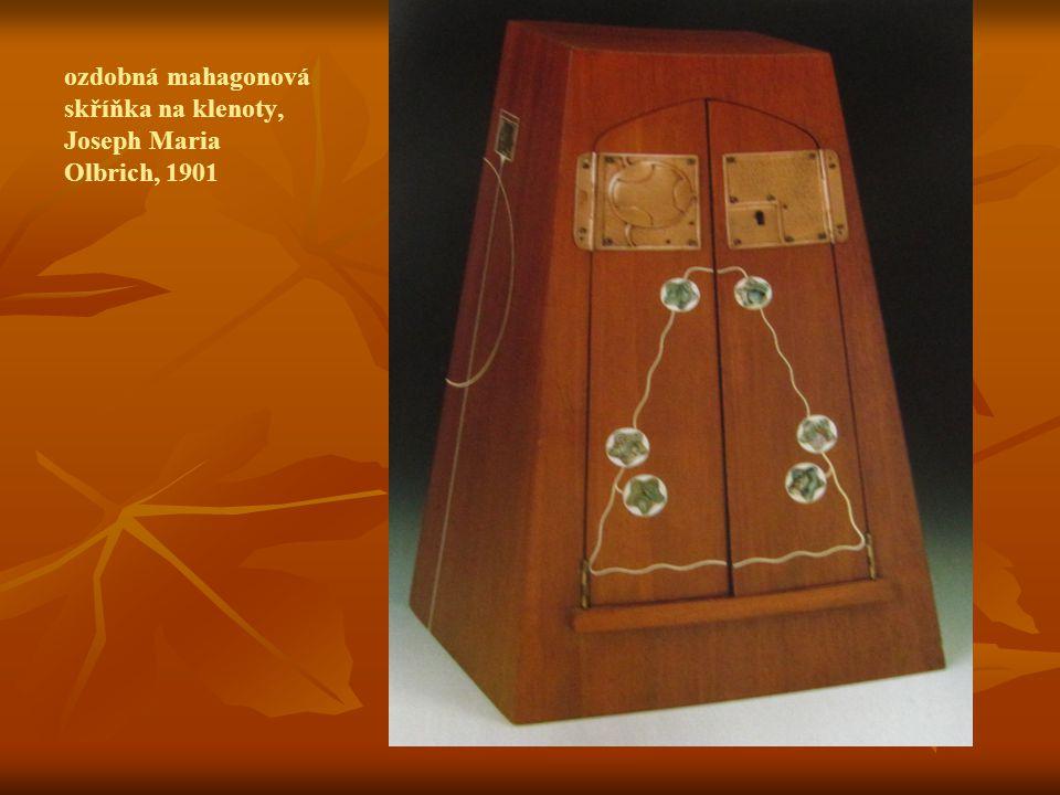 ozdobná mahagonová skříňka na klenoty, Joseph Maria Olbrich, 1901