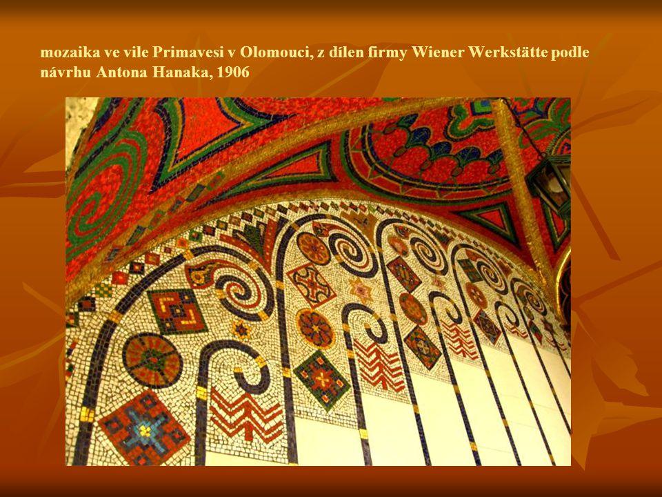 mozaika ve vile Primavesi v Olomouci, z dílen firmy Wiener Werkstätte podle návrhu Antona Hanaka, 1906