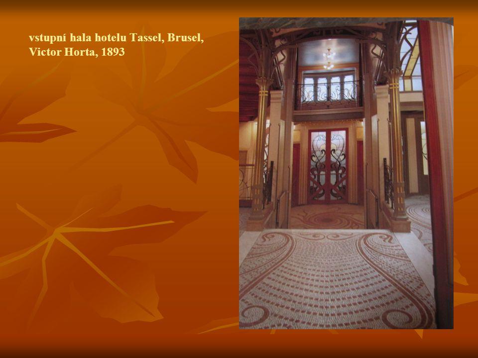 vstupní hala hotelu Tassel, Brusel, Victor Horta, 1893