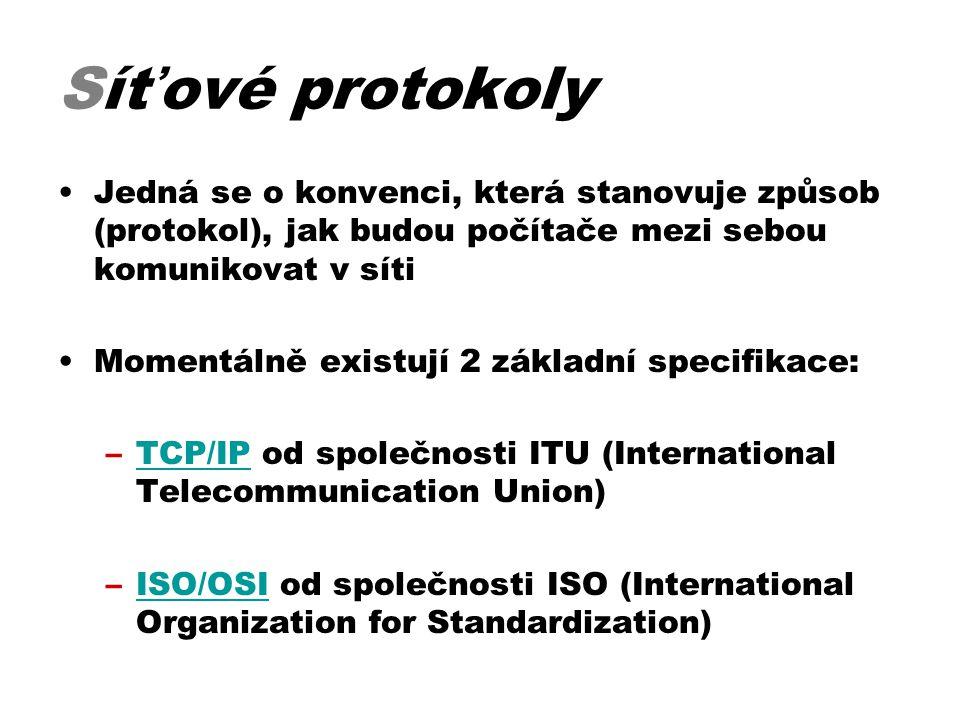 Síťové protokoly Jedná se o konvenci, která stanovuje způsob (protokol), jak budou počítače mezi sebou komunikovat v síti.
