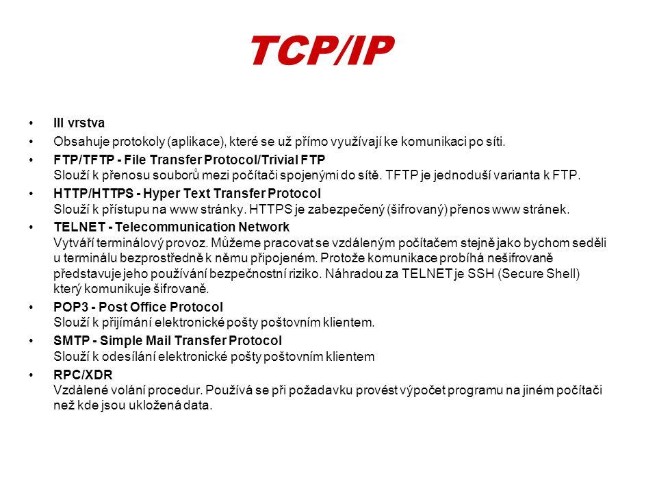 TCP/IP III vrstva. Obsahuje protokoly (aplikace), které se už přímo využívají ke komunikaci po síti.