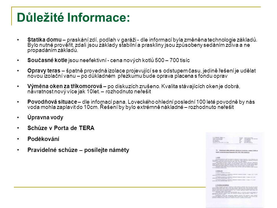 Důležité Informace: Schůze v Porta de TERA Poděkování
