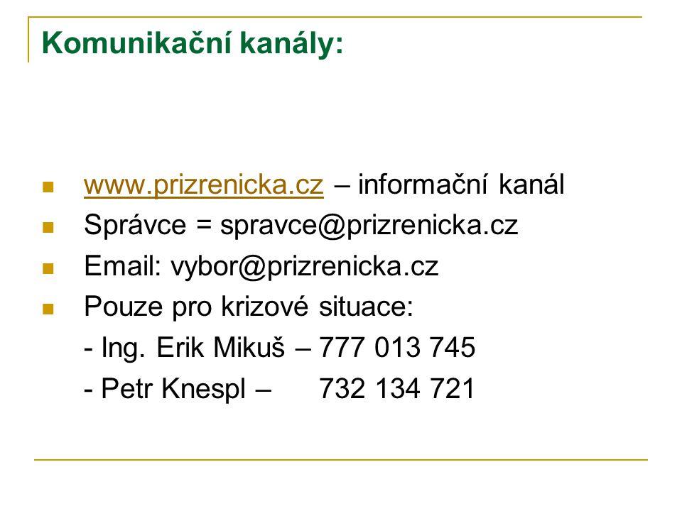Komunikační kanály: www.prizrenicka.cz – informační kanál