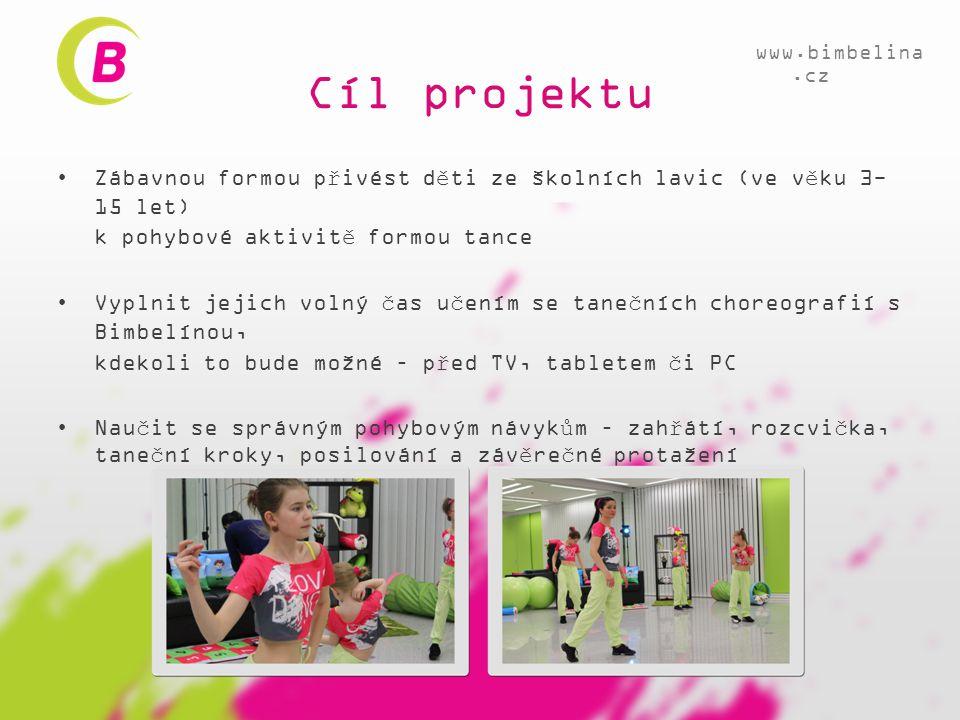 Cíl projektu www.bimbelina.cz. Zábavnou formou přivést děti ze školních lavic (ve věku 3-15 let) k pohybové aktivitě formou tance.