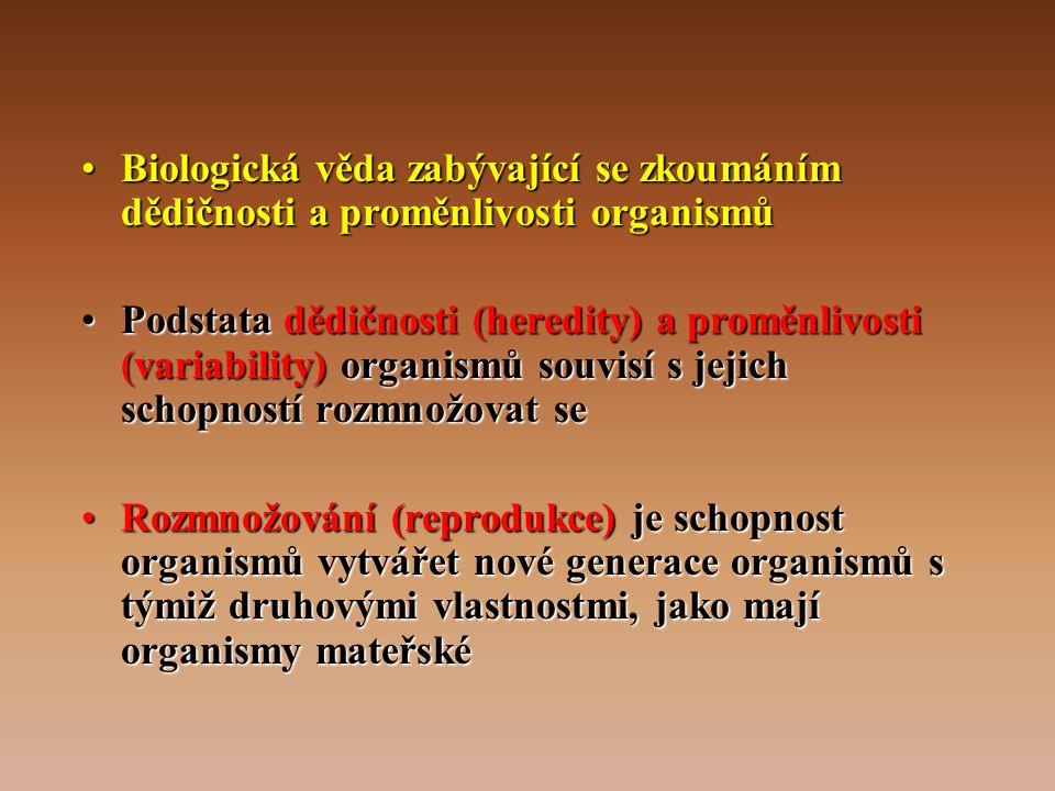 Biologická věda zabývající se zkoumáním dědičnosti a proměnlivosti organismů