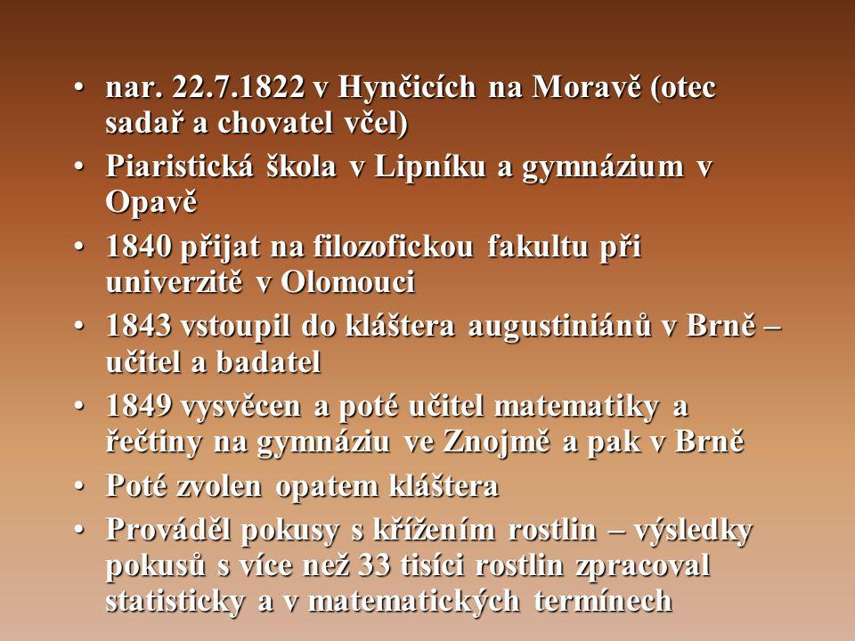 nar. 22.7.1822 v Hynčicích na Moravě (otec sadař a chovatel včel)