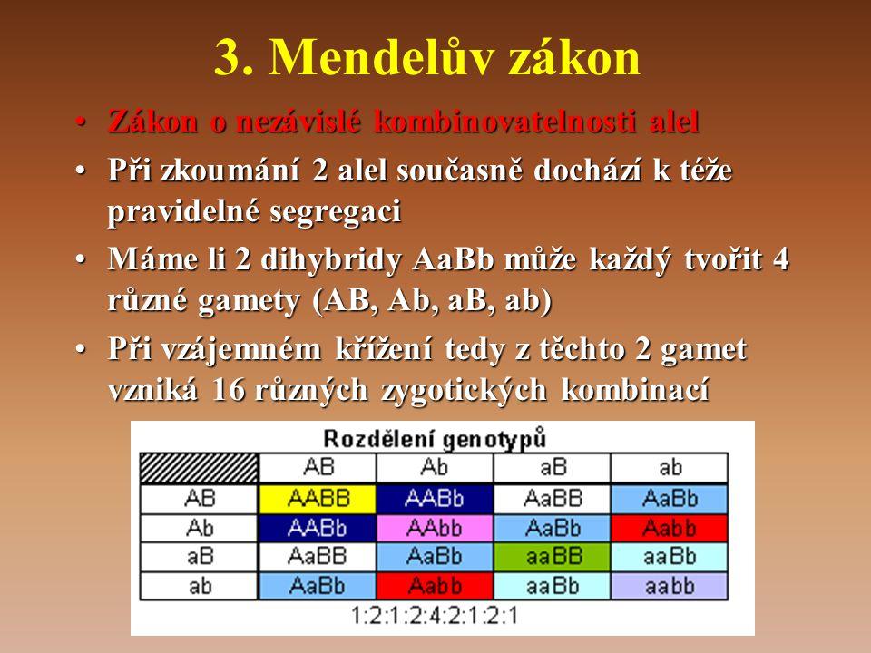 3. Mendelův zákon Zákon o nezávislé kombinovatelnosti alel