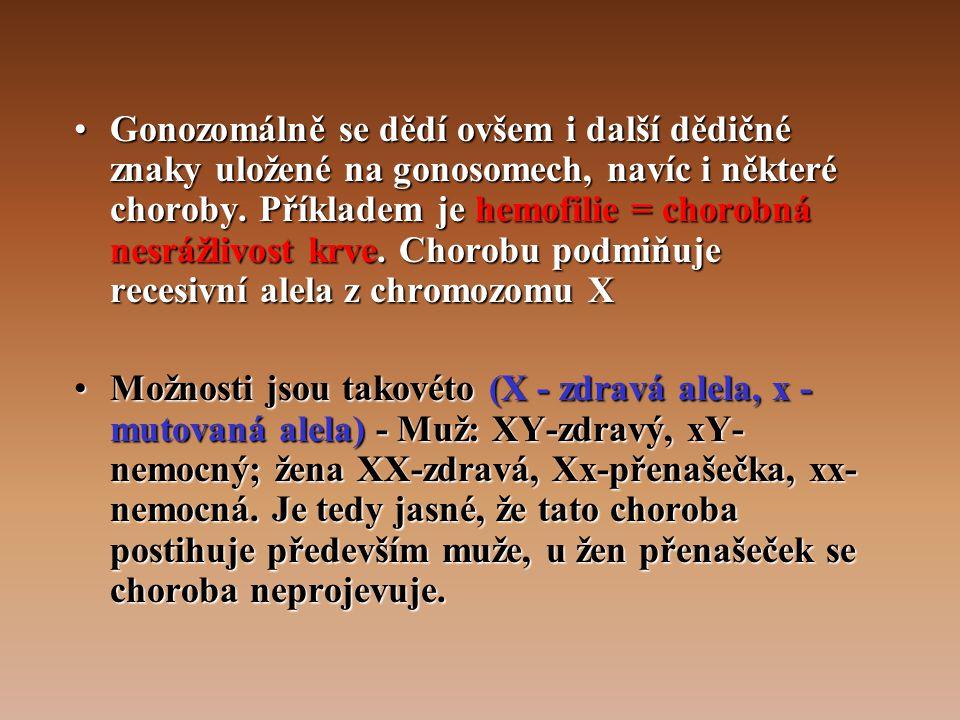 Gonozomálně se dědí ovšem i další dědičné znaky uložené na gonosomech, navíc i některé choroby. Příkladem je hemofilie = chorobná nesrážlivost krve. Chorobu podmiňuje recesivní alela z chromozomu X