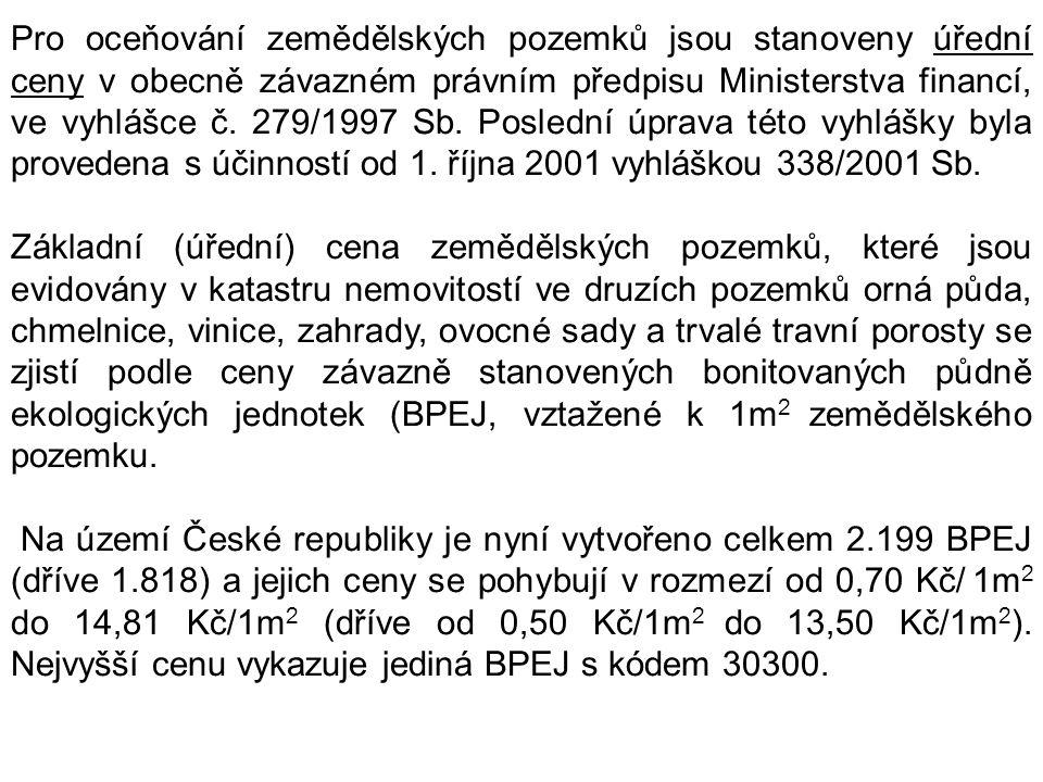 Pro oceňování zemědělských pozemků jsou stanoveny úřední ceny v obecně závazném právním předpisu Ministerstva financí, ve vyhlášce č. 279/1997 Sb. Poslední úprava této vyhlášky byla provedena s účinností od 1. října 2001 vyhláškou 338/2001 Sb.