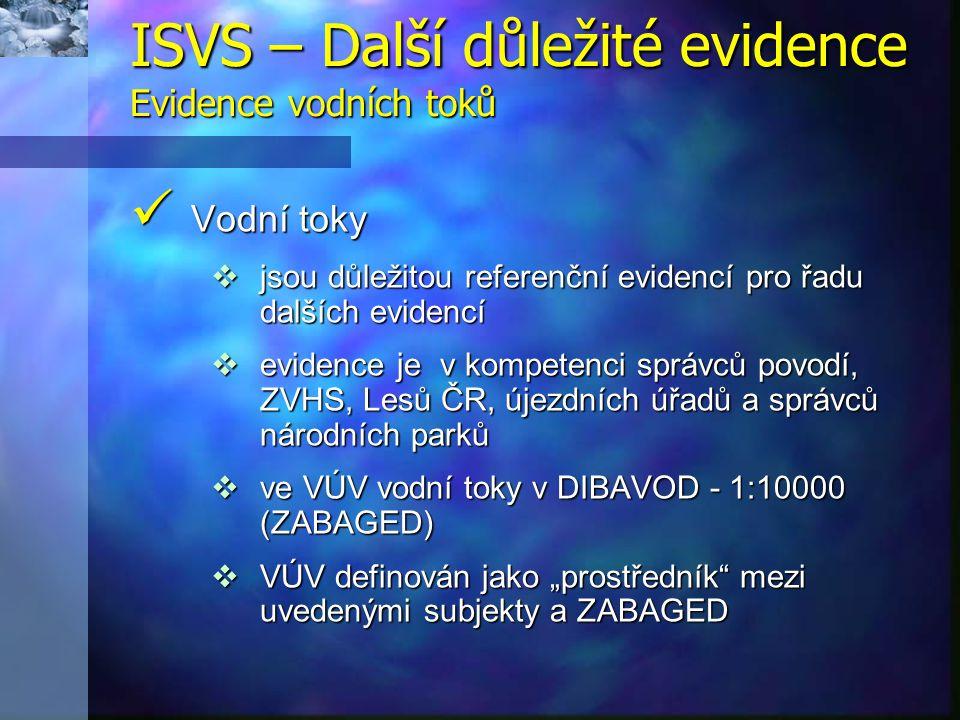 ISVS – Další důležité evidence Evidence vodních toků