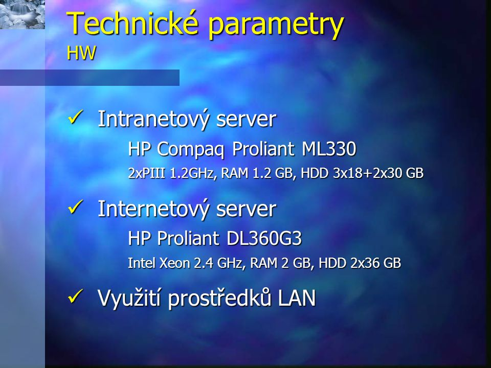 Technické parametry HW