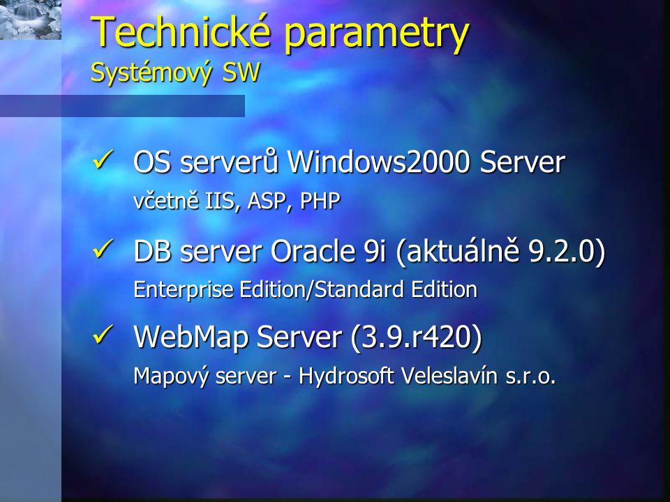 Technické parametry Systémový SW