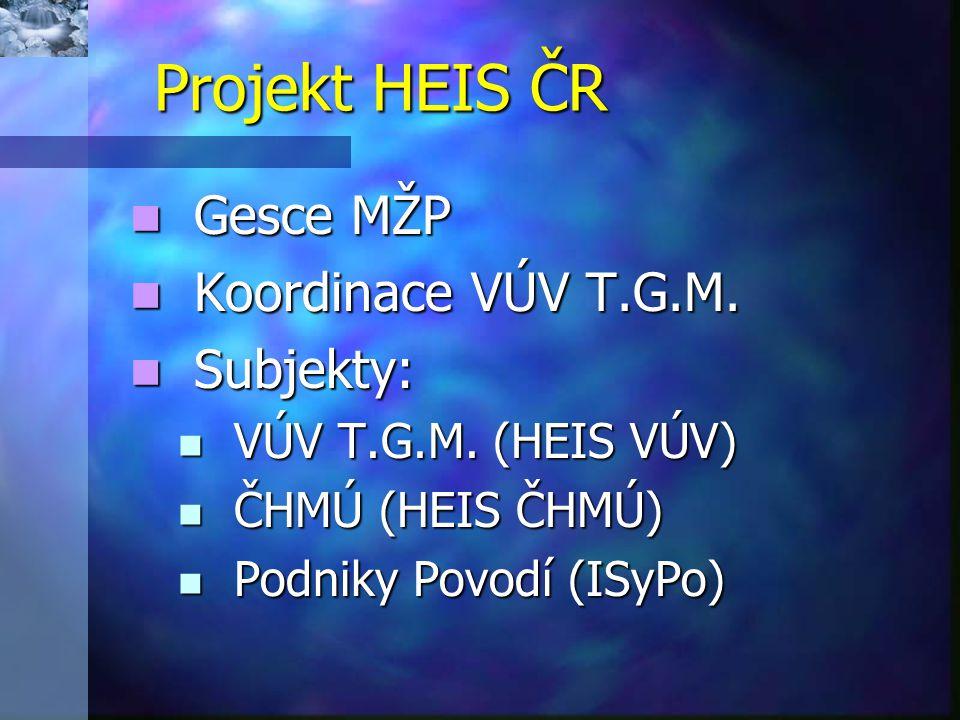 Projekt HEIS ČR Gesce MŽP Koordinace VÚV T.G.M. Subjekty: