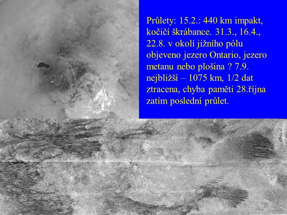 Průlety: 15.2.: 440 km impakt, kočičí škrábance. 31.3., 16.4., 22.8.