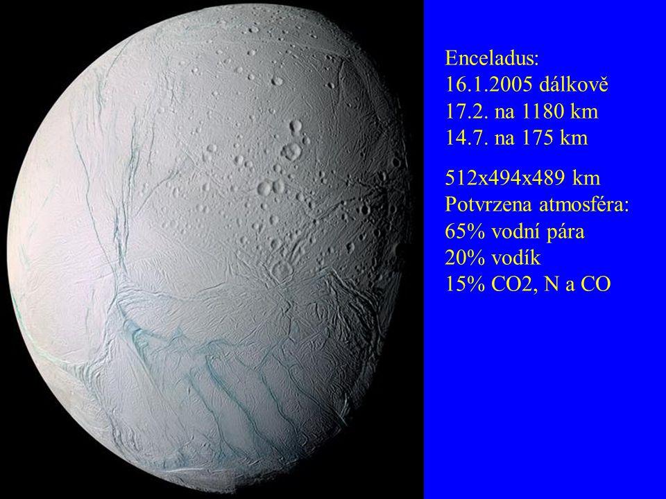 Enceladus: 16.1.2005 dálkově 17.2. na 1180 km 14.7. na 175 km
