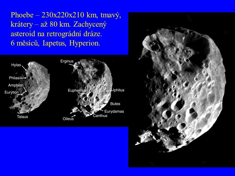 Phoebe – 230x220x210 km, tmavý, krátery – až 80 km