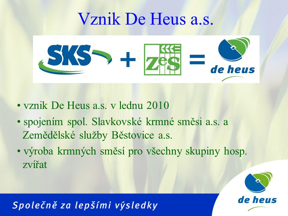 Vznik De Heus a.s. vznik De Heus a.s. v lednu 2010