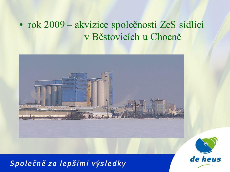 rok 2009 – akvizice společnosti ZeS sídlící v Běstovicích u Chocně