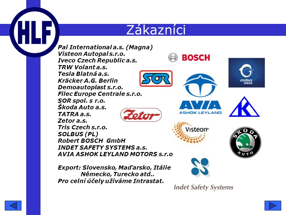 Zákazníci Pal International a.s. (Magna) Visteon Autopal s.r.o.