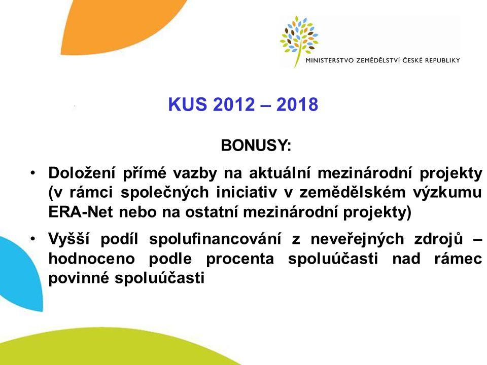 KUS - BONUSY KUS 2012 – 2018 BONUSY: