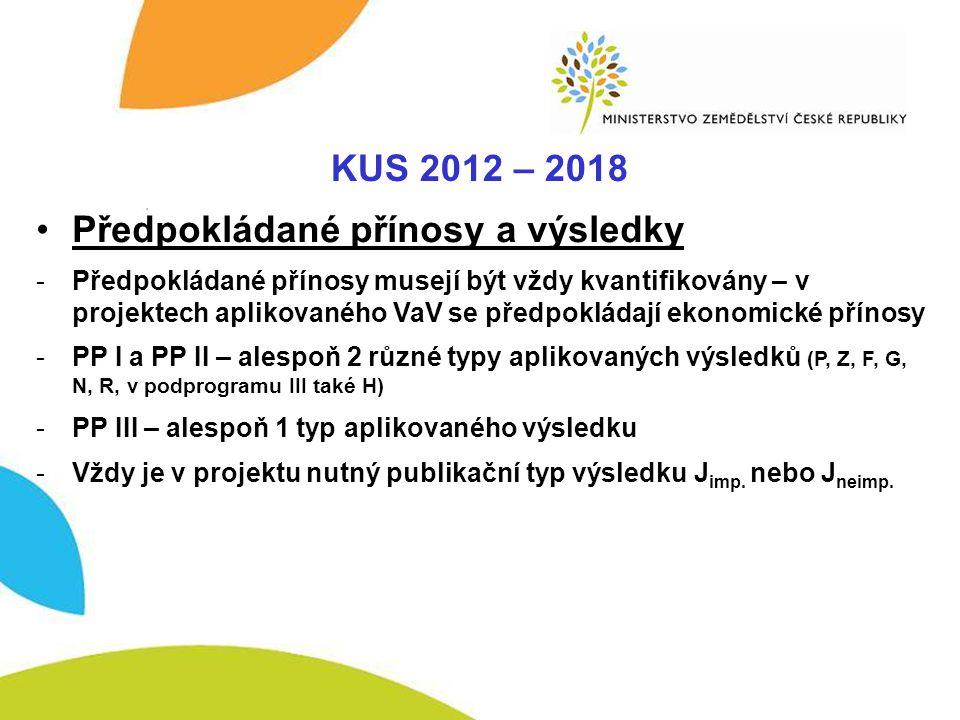 KUS – Komplexnost KUS 2012 – 2018 Předpokládané přínosy a výsledky