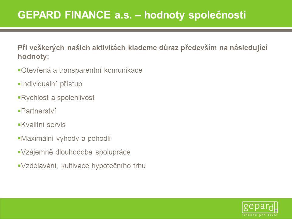 GEPARD FINANCE a.s. – hodnoty společnosti