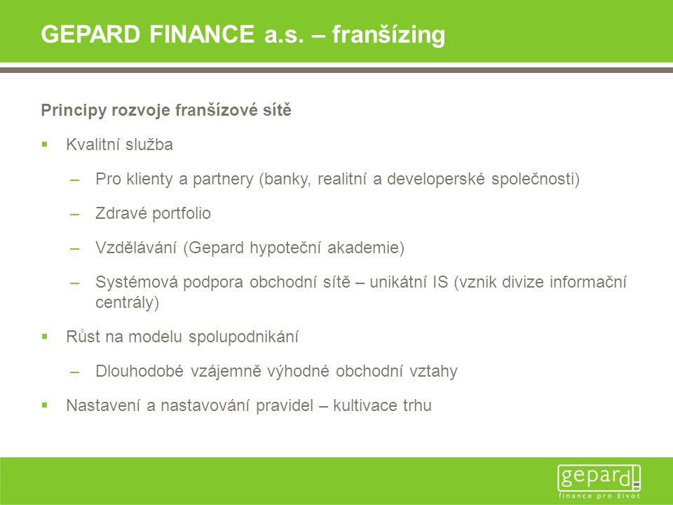 GEPARD FINANCE a.s. – franšízing