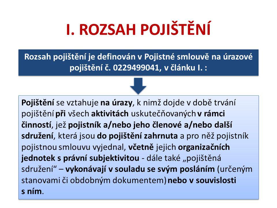 I. ROZSAH POJIŠTĚNÍ Rozsah pojištění je definován v Pojistné smlouvě na úrazové pojištění č. 0229499041, v článku I. :