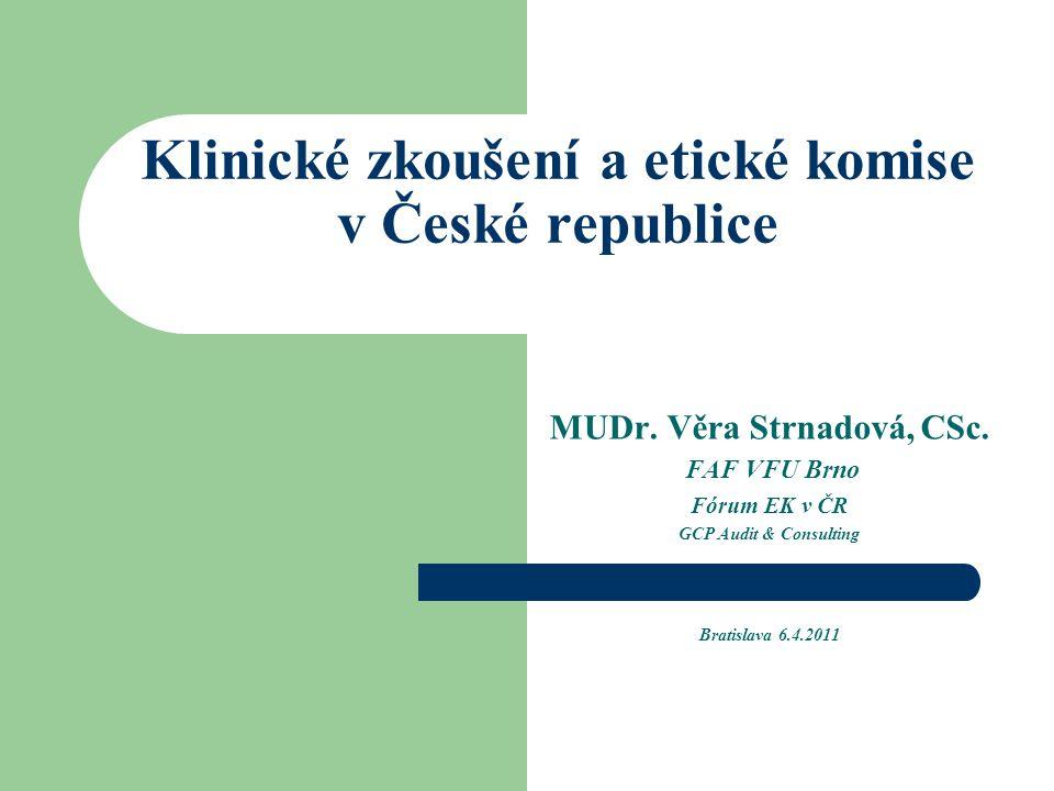 Klinické zkoušení a etické komise v České republice