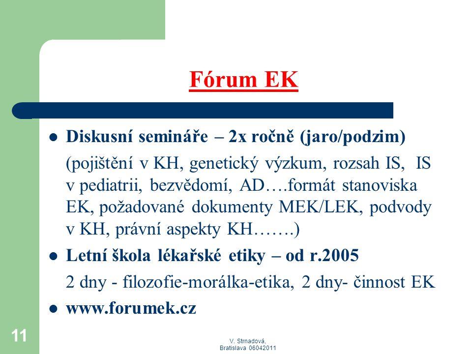 Fórum EK Diskusní semináře – 2x ročně (jaro/podzim)