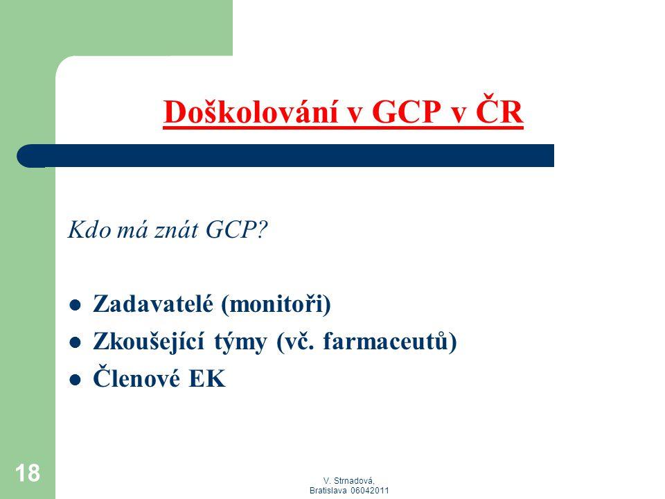 Doškolování v GCP v ČR Kdo má znát GCP Zadavatelé (monitoři)