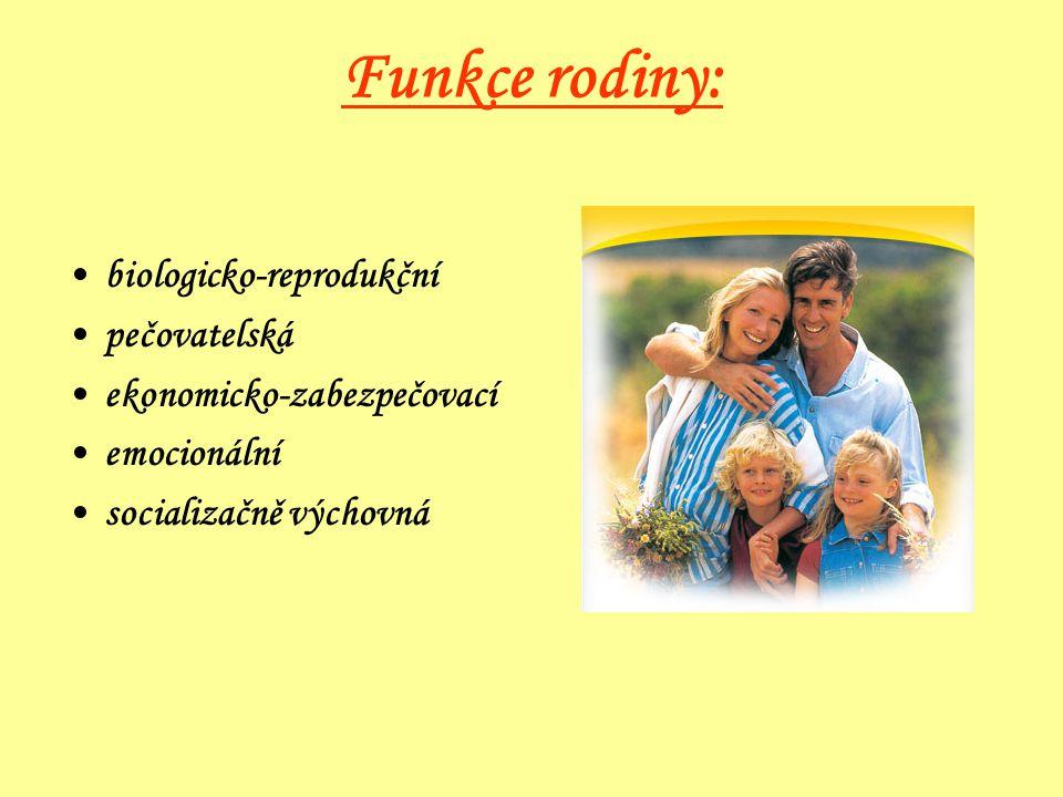 Funkce rodiny: biologicko-reprodukční pečovatelská