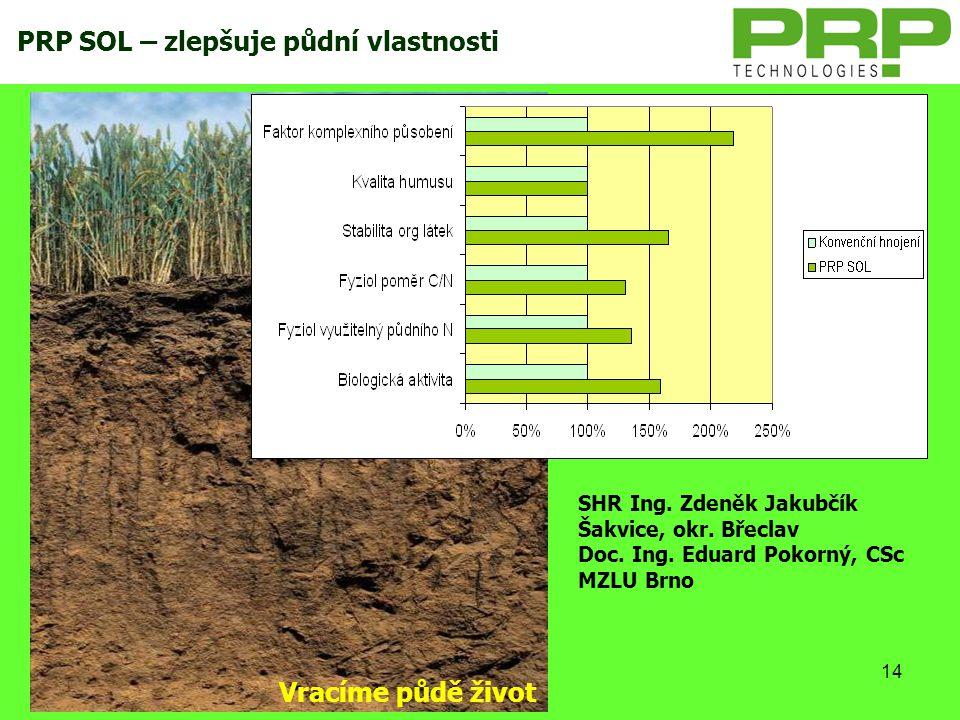 PRP SOL – zlepšuje půdní vlastnosti