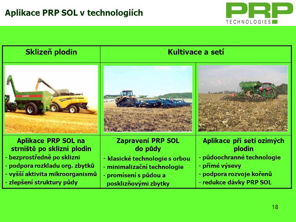 Aplikace PRP SOL v technologiích