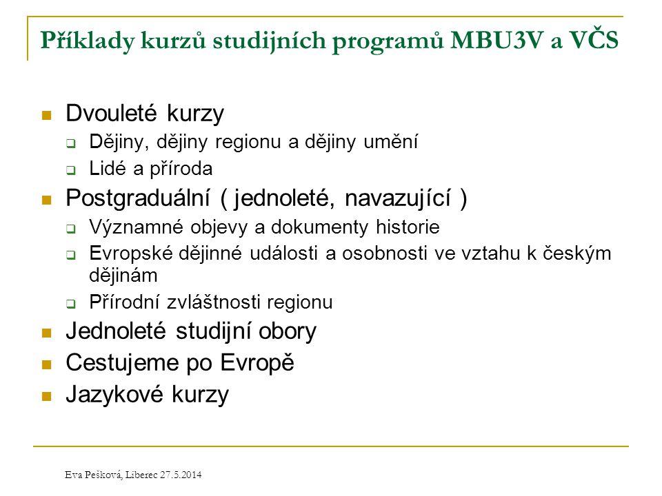 Příklady kurzů studijních programů MBU3V a VČS