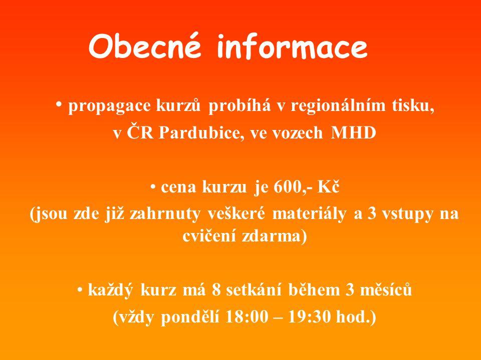 Obecné informace propagace kurzů probíhá v regionálním tisku,