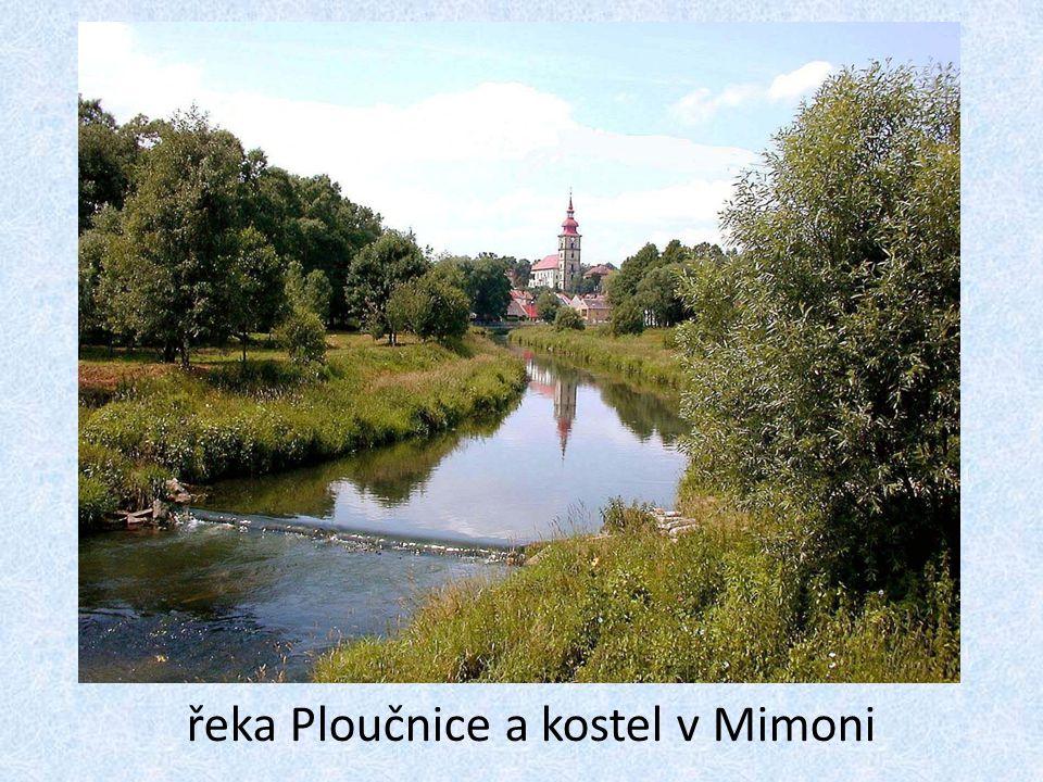 řeka Ploučnice a kostel v Mimoni