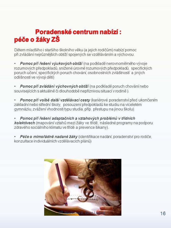 Poradenské centrum nabízí : péče o žáky ZŠ