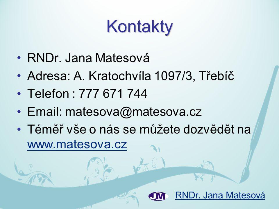 Kontakty RNDr. Jana Matesová Adresa: A. Kratochvíla 1097/3, Třebíč