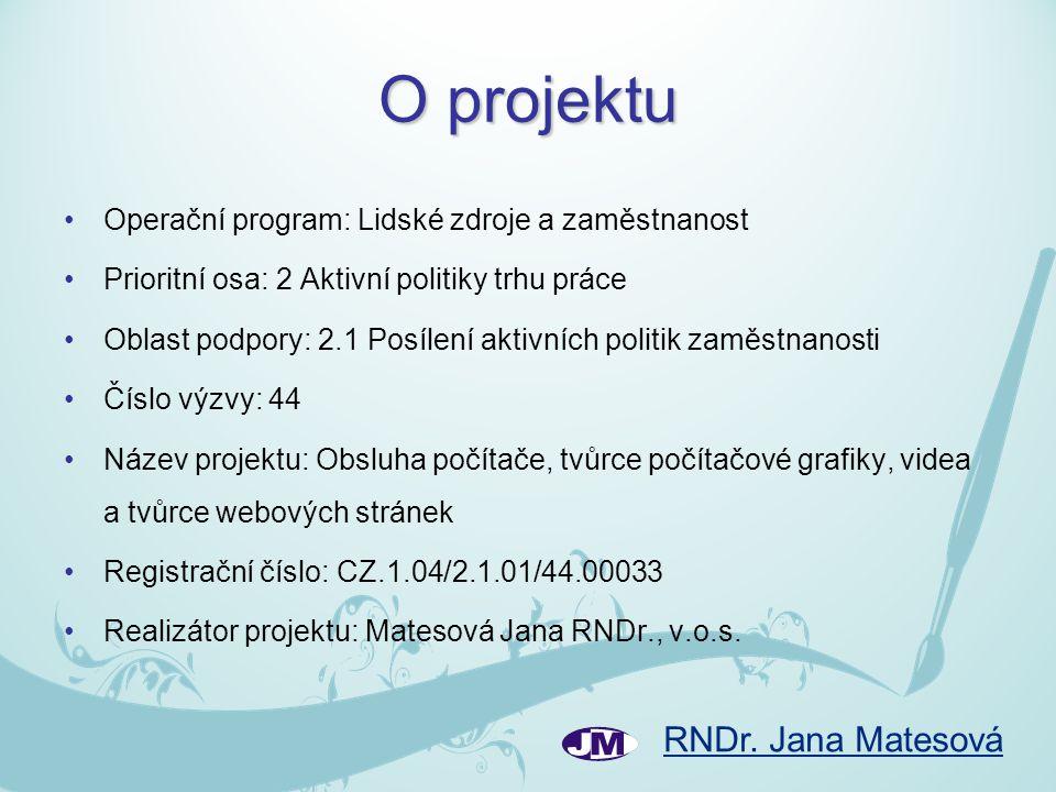 O projektu Operační program: Lidské zdroje a zaměstnanost