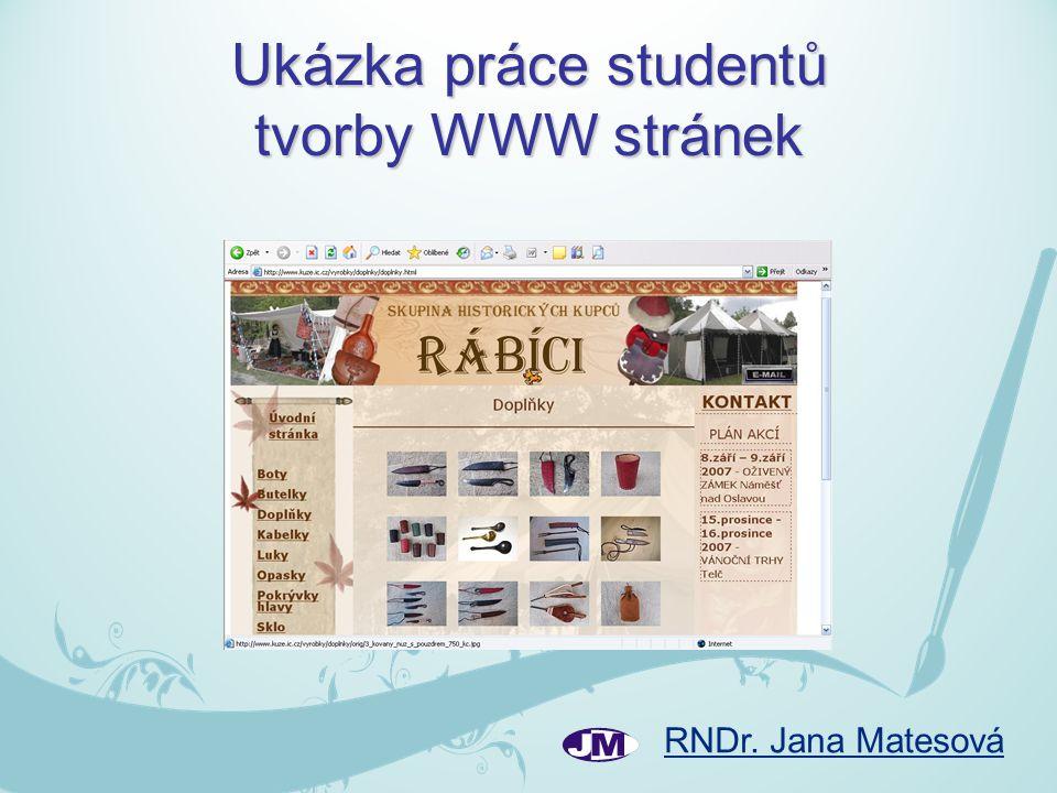 Ukázka práce studentů tvorby WWW stránek