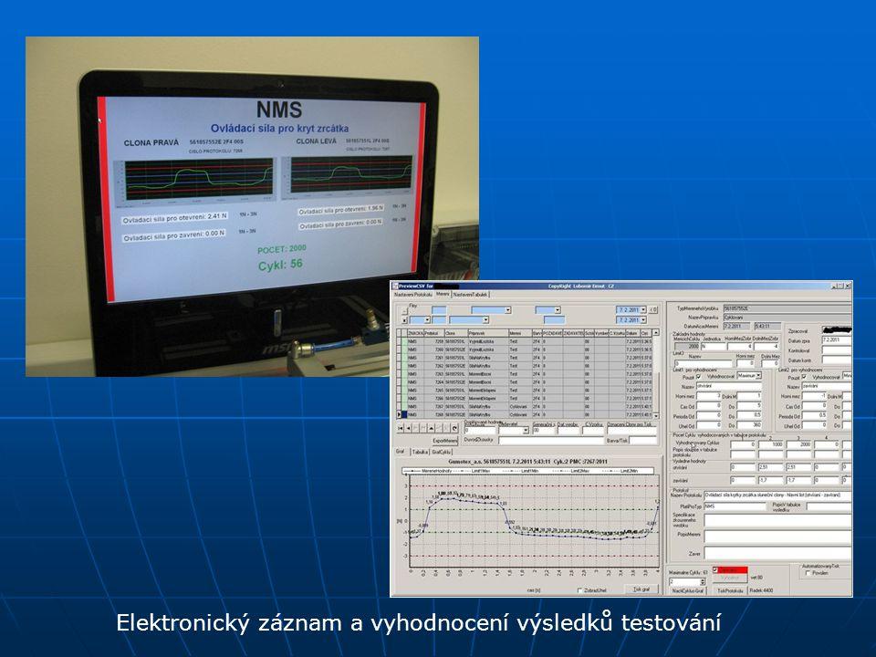 Elektronický záznam a vyhodnocení výsledků testování