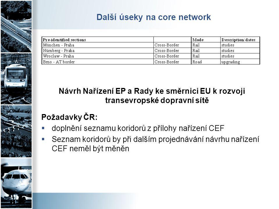 Další úseky na core network
