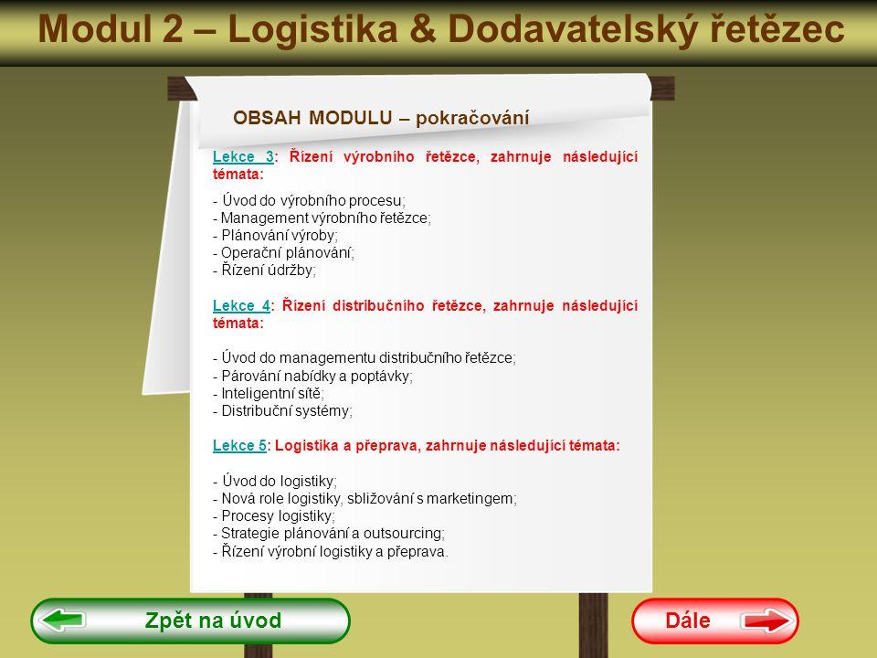 Modul 2 – Logistika & Dodavatelský řetězec