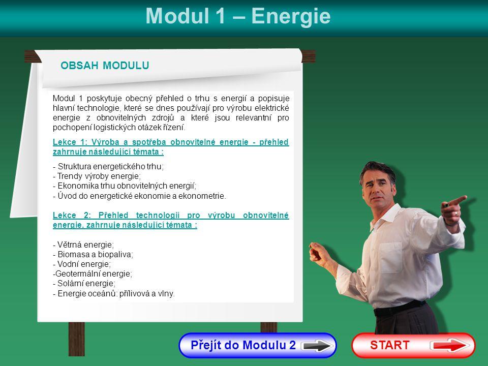 Modul 1 – Energie Přejít do Modulu 2 START OBSAH MODULU