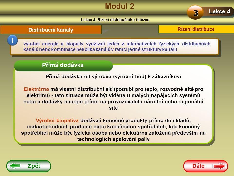 Modul 2 3 i Lekce 4 Přímá dodávka Zpět Dále Distribuční kanály